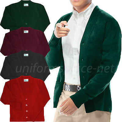 (Cardigan Sweater Classroom Boys, Youth V-Neck Cardigan Sweaters School Uniforms)