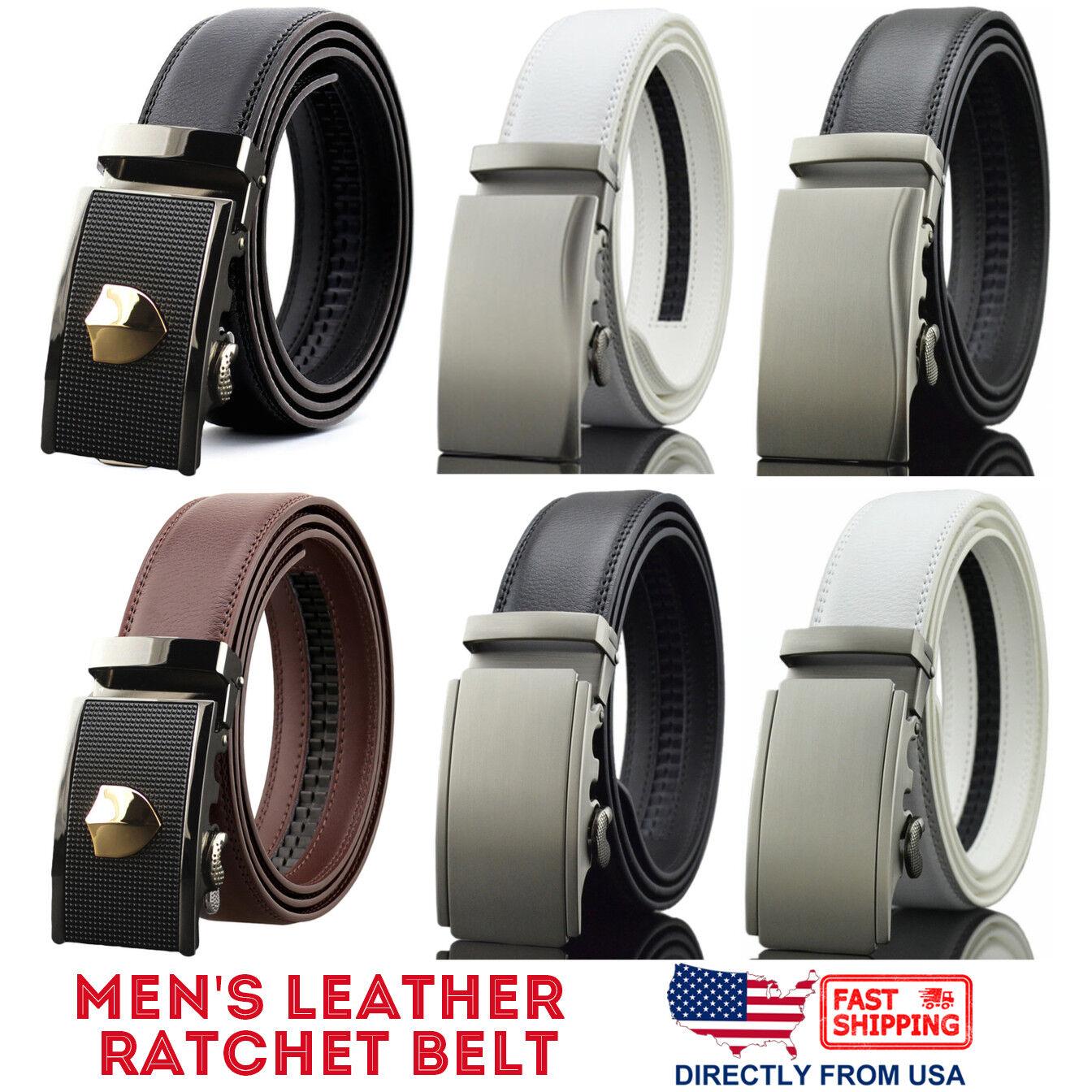 Men's Genuine Leather Adjustable Automatic Buckle Ratchet Business Dress Belt Belts