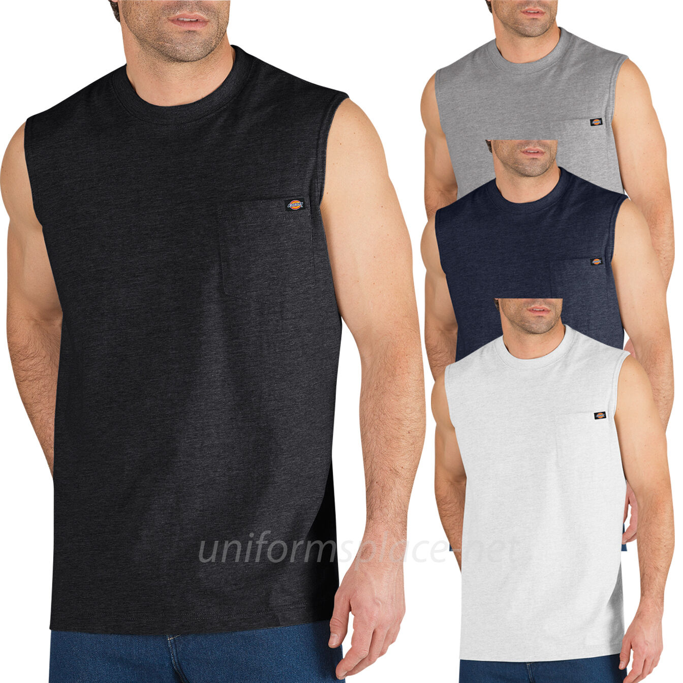 Dickies Sleeveless T shirt  Mens Pocket Tee shirt WS452 Cott