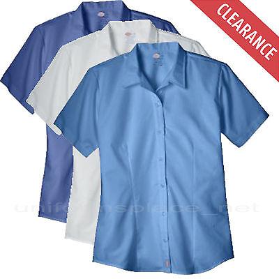 - Women's Shirts Dickies Stretch Oxford Work Shirt Short Sleeve FS011 White Blue