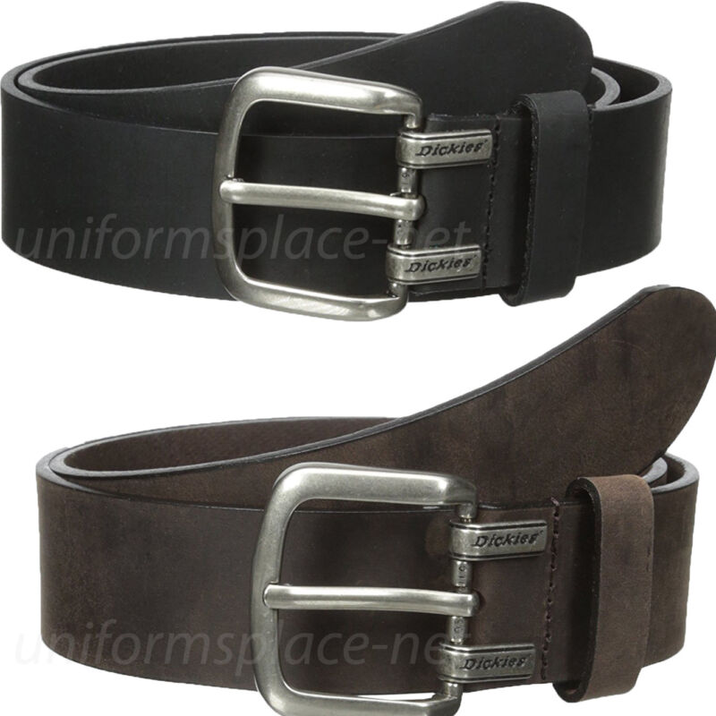 "Dickies Leather Belt Mens Approx. 1.5"" Screw Logo Leather Belt Black Or Brown"