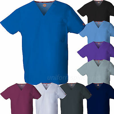 Dickies Scrubs Top UNISEX Men Women EDS Medical Scrub V-NECK Shirts Pocket 83706 Unisex V-neck Top