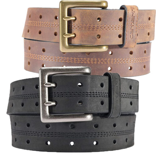 """Carhartt Leather Belt Mens Double Perf 1.5"""" Leather Black Or Brown Belts"""