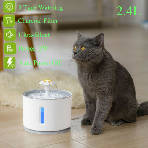 2.4L Automatic Pet Cat Water Fountain Drinking Dispenser LED Light Ultra Silent