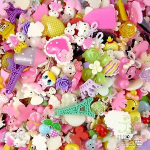 100 pcs mixed cute resin flatback cabochon flower heart cartoon embellishment