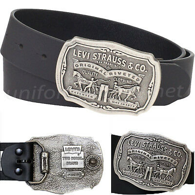 Levis Leather Belt Mens 40mm Belt with Removable Antiqued Logo Plaque -