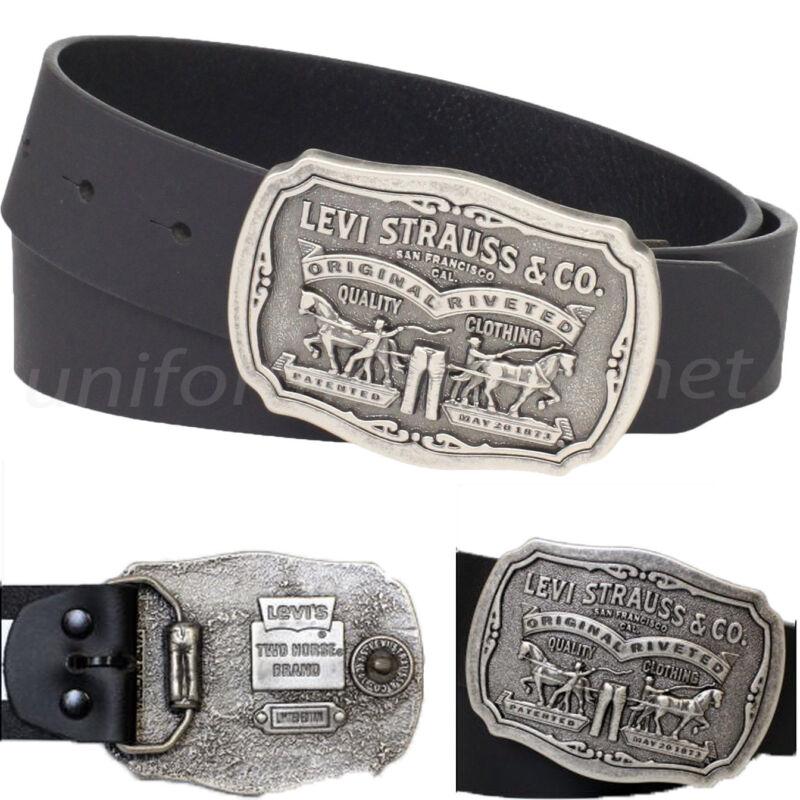 Levis Leather Belt Mens 40mm Belt With Removable Antiqued Logo Plaque Buckle