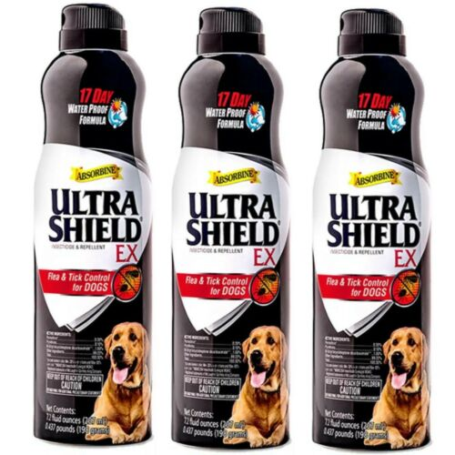 3 Absorbine Ultra Shield EX Flea & Tick Control Spray For Dogs Each 7 oz