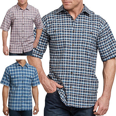 Dickies Shirts Mens Short Sleeve Plaid Icon Relaxed Fit Yarn Dyed Shirt WS527