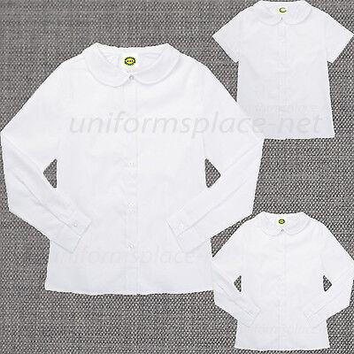 Girls Shirt Peter Pan Collar Blouse Short Sleeve, Long Sleeve School (Girls Peter Pan Collar Blouse)
