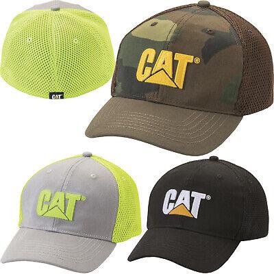 Cotton Stretch Logo Hat - Caterpillar Hats Mens Active Mesh Stretch Fit Logo Cap Cotton Blend Fitted Hat