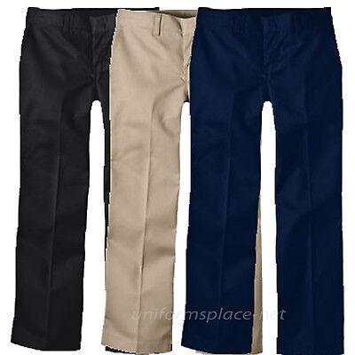 Navy Girls Flat Front Pant - Dickies pants Girls FlexWaist Flat Front School Uniforms Pant KP312 Black Navy..