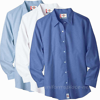 Dickies Long Sleeve Oxfords - Dickies Shirts Women Stretch Oxford Work Shirt Long Sleeve Top FL011 BLUE WHITE