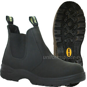 Work Zone Boots Men 6 Quot Soft Toe Pull On Leather Black Slip