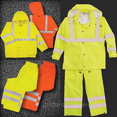 Class 3 Rain Suit (ML Kishigo Rain Suit Class 3 Waterproof Safety Lime Orange Hood Jacket &)