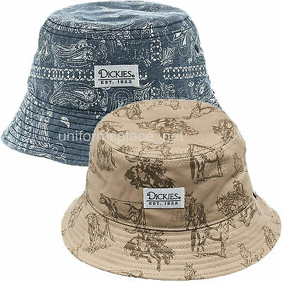 Dickies Bucket Hats Mens Cotton Fishing Hat S/M L/XL Chambray or Western - Cotton Print Bucket Hat