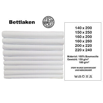 Laken Hauslaken Tuch ohne Gummizug 6 Größen 150g/m2(4) Weiß (Weiße Tischdecke)