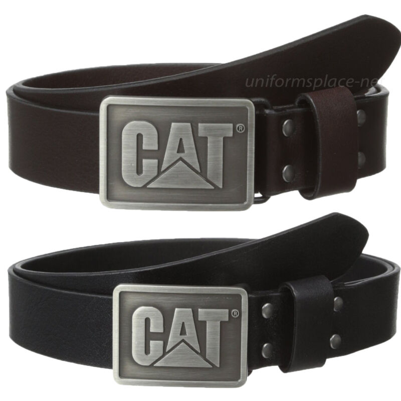 Caterpillar Leather Belt Mens 1 1/4 Cat Shields Black Brown Logo Buckle Belts