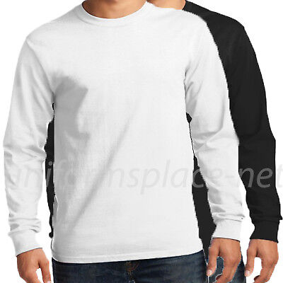 Men Long Sleeve T-Shirt Long sleeve Crew Neck Tee Plain Black, White Big & Tall (Black Long Sleeve T-shirt Tee)