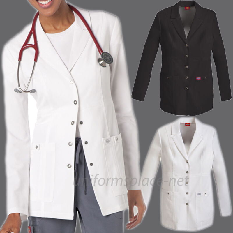 """Women Dickies Lab Coat Xtreme Stretch Long Sleeve 28"""" Snap Front Scrubs Jacket"""