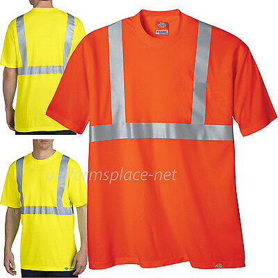 Ansi Class 2 T-shirt (Dickies T Shirt Mens Polyester Short Sleeve High Visibility ANSI Class-2 Tee)