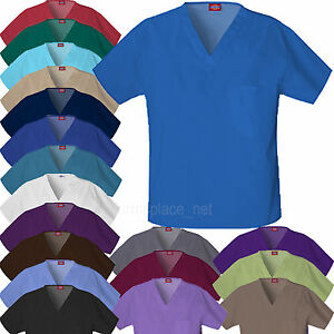 DICKIES-Scrubs-Shirts-UNISEX-Men-Women-EDS-V-NECK-Top-Chest-Pocket-810106-Shirt