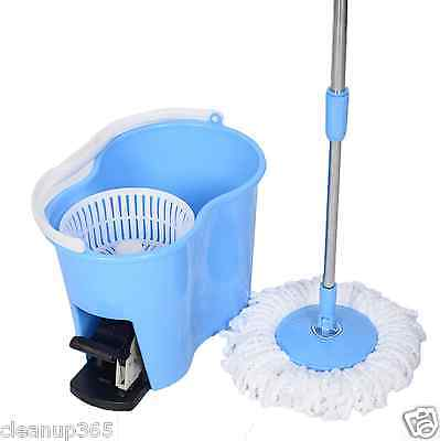 Microfiber Spinning Mop Easy Floor Mop W/Bucket 2 Heads 360 Rotating Head Blue