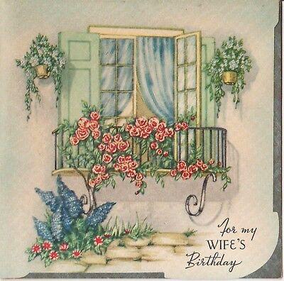 VTG ROSES FOX GLOVE SILVER FOIL BALCONY WINDOW SCENE BIRTHDAY GREETING CARD