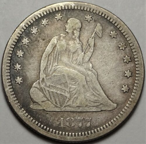 1877-S Seated Liberty Quarter Dollar Very Fine VF San Francisco 25c Type Coin