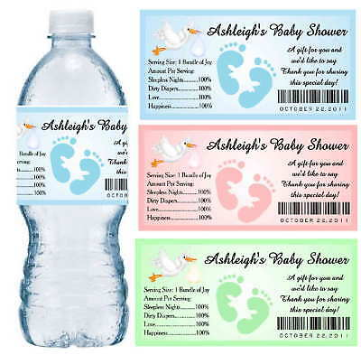 30 BABY SHOWER WATER BOTTLE LABELS PARTY FAVORS Waterproof Ink ~ (Personal Water Bottle)