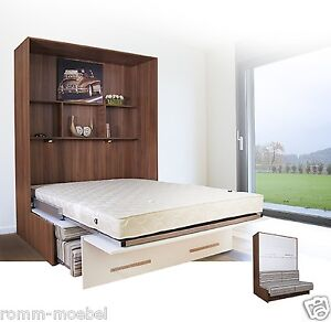 schrankbett wandbett klappbett mit sofa 140x200 cm holz. Black Bedroom Furniture Sets. Home Design Ideas