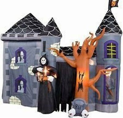 Halloween HAUNTED HOUSE MANSION MUSICAL Airblown Inflatable OVER 12ft Long GEMMY
