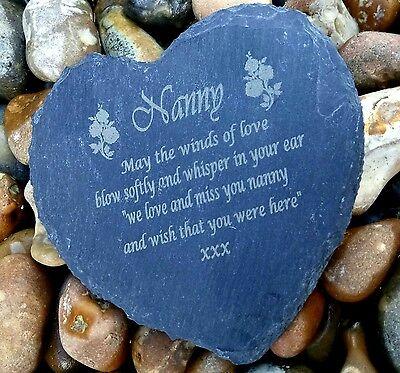 Personalised Engraved Slate Stone Heart Nan Memorial Grave Marker Plaque Nanny