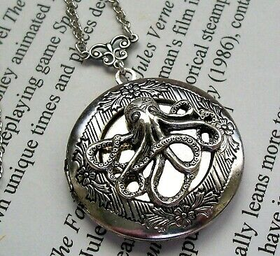 OCTOPUS Vtg LOCKET NECKLACE Silver NAUTICAL STEAMPUNK Gothic Halloween Jewelry