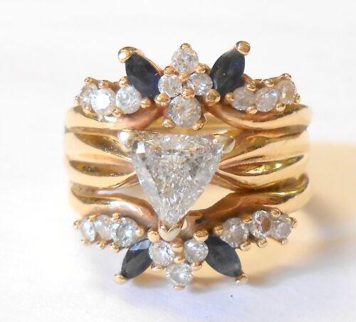 Trillion Cut Diamond Blue Sapphire 14K Gold Wedding Cocktail Ring Set Size 7.5