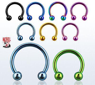 S/H FREE! Circular Barbell 16g Nose Septum Nipple Eyebrow Premium Surgical Steel