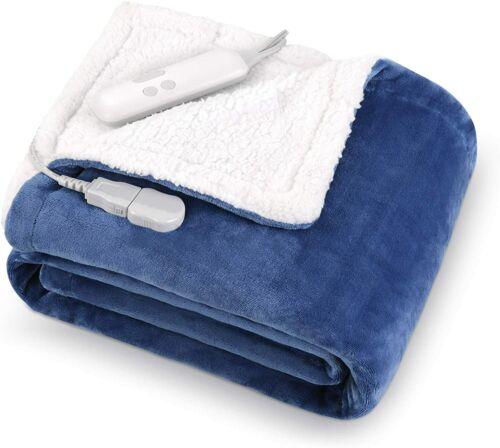 "MaxKare Electric Blanket Heated Throw Flannel & Sherpa 50"" x 60"" MKGL-TR01 Blue"