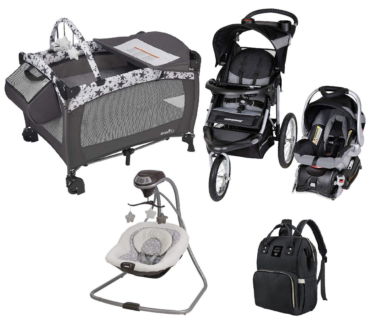 Baby Jogger Stroller with Car Seat Infant Playard Swing Trav