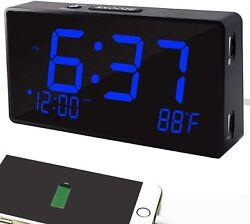 Digital Alarm Clock, Alarm Clocks for Bedrooms with USB Port for Charging,