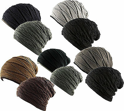 Unisex 2 in 1 REVERSIBLE Ribbed Waffle Knit Slouch Beanie Ski Knitted Cap Hat Reversible Waffle Knit Beanie