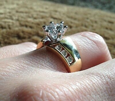 Solitaire Cubic Zirconia Costume Fashion Ring Free Shipping Yellow Gold Size 6
