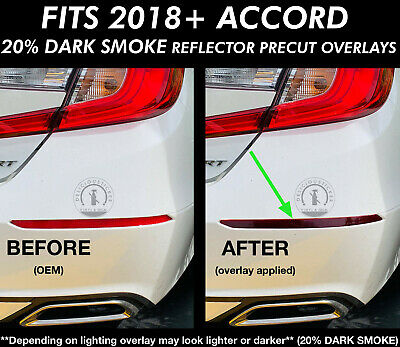 2018-2020 Accord SMOKE REFLECTORS Rear Bumper Overlays Vinyl Tint Precut Tail