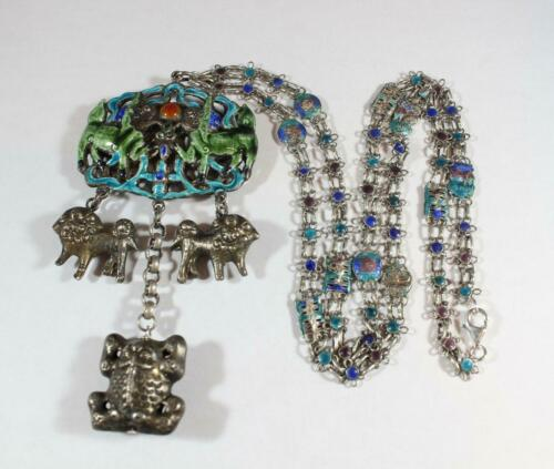 Antique Chinese Sterling Silver Enamel Foo Dog and Qilin Necklace