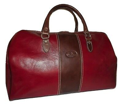 """NEW VALENTINA FIRENZE ITALIAN LEATHER 21"""" CARRY-ON SIZE DUFFEL WITH STRAP RED"""
