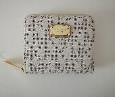 Authentic Michael Kors Small Cream Zip Round Purse Wallet