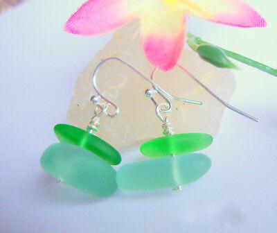 SEA GLASS Frosted Aqua Blue Green Silver Dangle Earrings BEACH USA HANDMADE