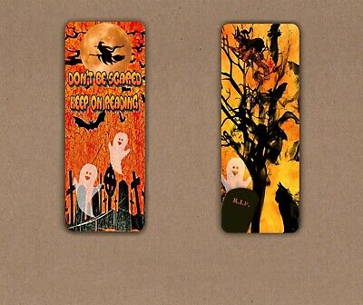 HALLOWEEN GHOSTS SCARY NIGHT LAMINATED BOOKMARK