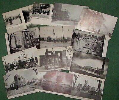 13 VINTAGE BLACK & WHITE POSTCARDS–1908–GREAT CHELSEA FIRE MA–MASS HISTORICAL.