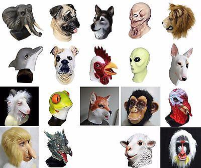 Dog Alien Costume (Animal Alien Latex Mask Dog Lion Monster Monkey Fancy Halloween Carnival)