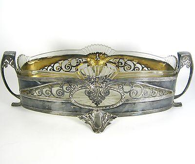 Jugendstil Metall Jardiniere versilbert Glaseinsatz Art Nouveau ca. 1910 RARE